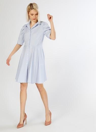 T-Box Kısa Kollu Volanlı Gömlek Elbise Beyaz